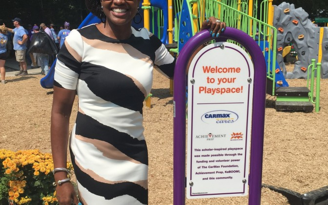 Shantelle Wright at the Entrance to the New Playground!